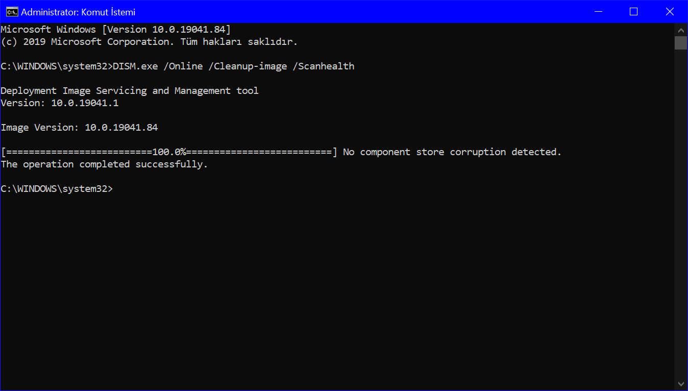 Komut istemi Yönetici penceresinde DISM.exe /Online /Cleanup-image /Scanhealth komutunun ekran görseli