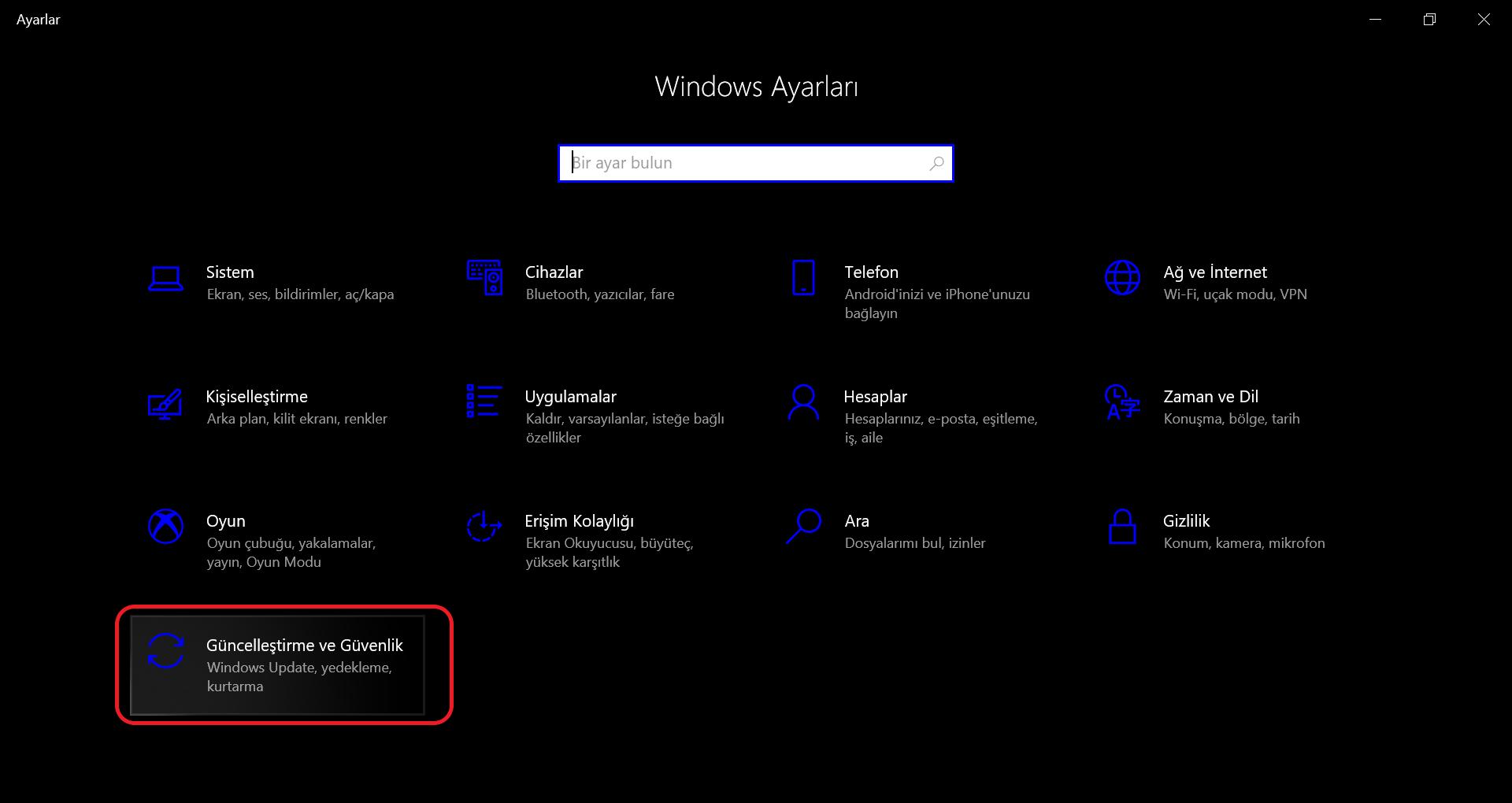 Ayarlar penceresinden Güncelleştirme ve Güvenlik sekmesine tıklama ekran görüntüsü