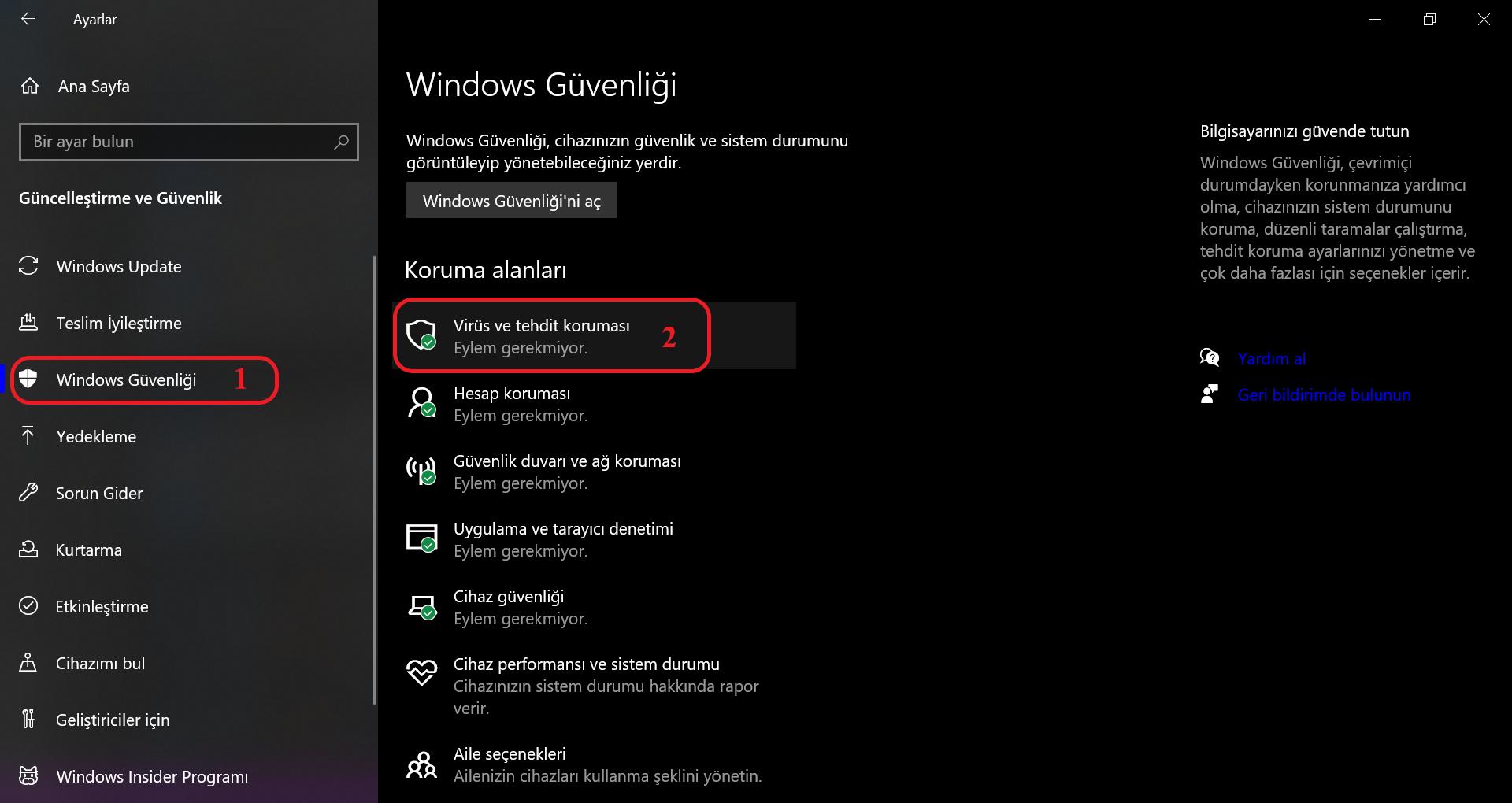 Windows güvenliği ekran görüntüsü