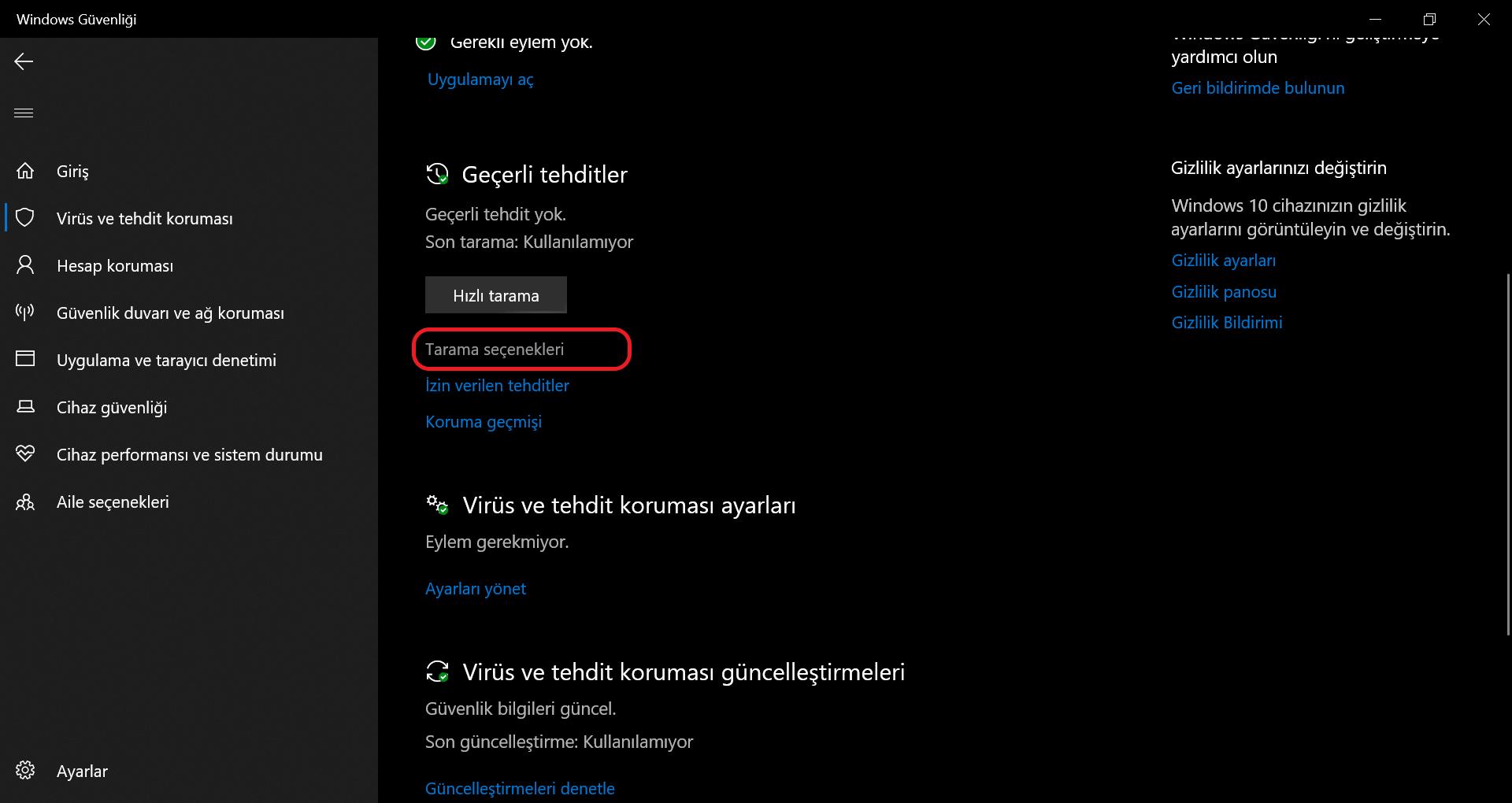 Güvendows güvenliği penceresinden tarama seçenekleri ekran görüntüsü