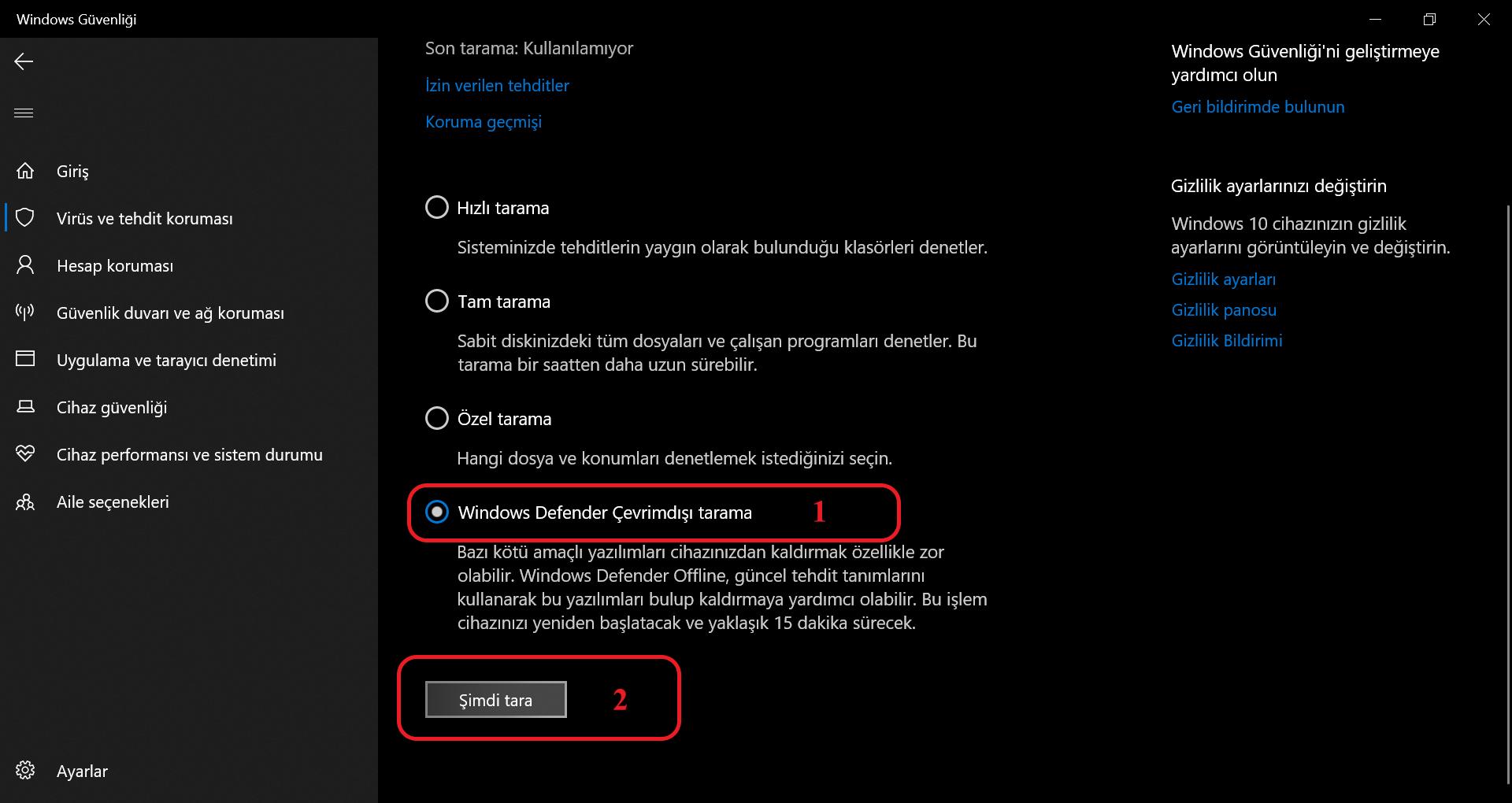 Windows defender çevrim dışı tarama seçimi ekran görüntüsü