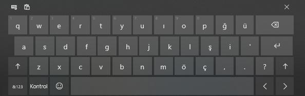 Ekran klavyesinin ekran görüntüsü