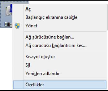 Windows 8 bu bilgisayar özellikler ekran görüntüsü