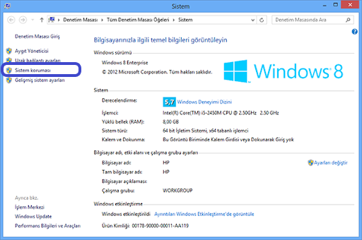 Windows 8 sistem korumasının seçilmesinin ekran görüntüsü