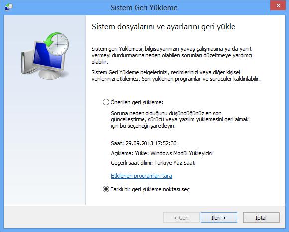 Windows 8 sistem korumasınında sistem geri yükleme işlemini gerçekleştirmek için ilerle ekran görüntüsü