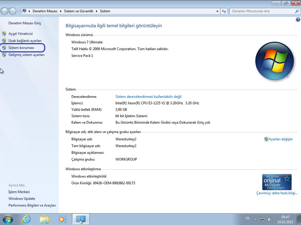 Sistem iletişğim penceresinden sistem korumasının seçilim ekran görüntüsü