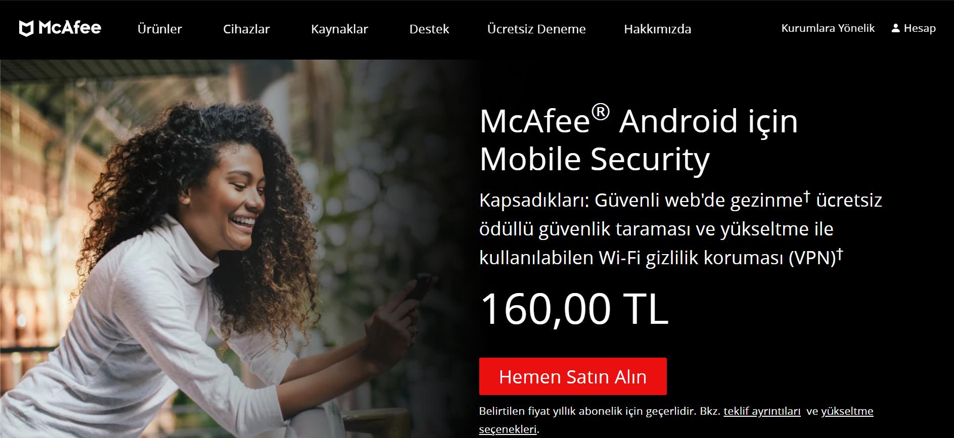McAfee web sayfası
