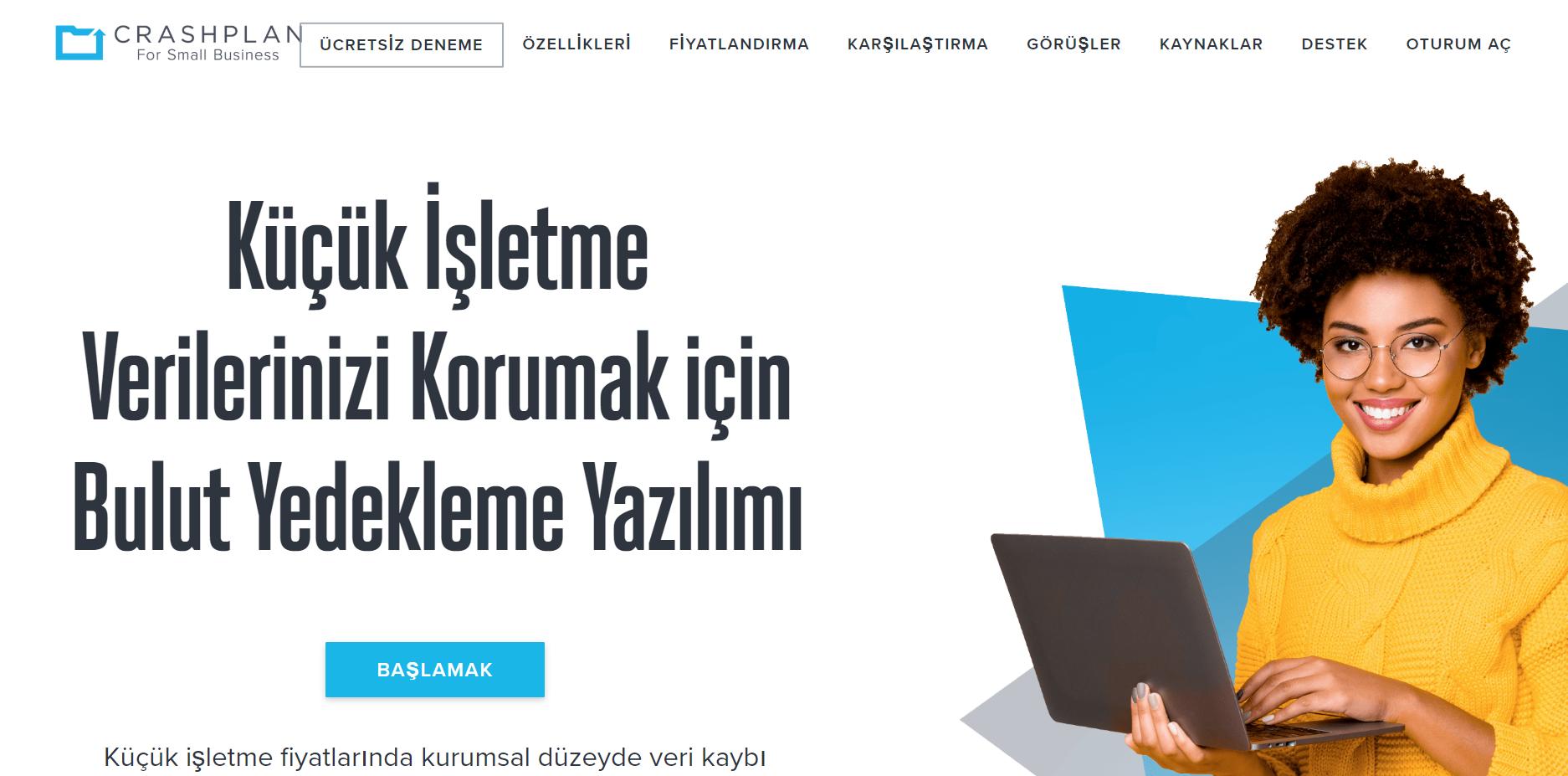 CrashPlan Web sitesi