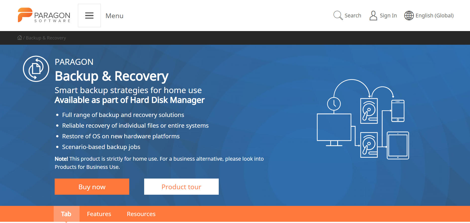 Paragon Backup and Recovery Web sitesi