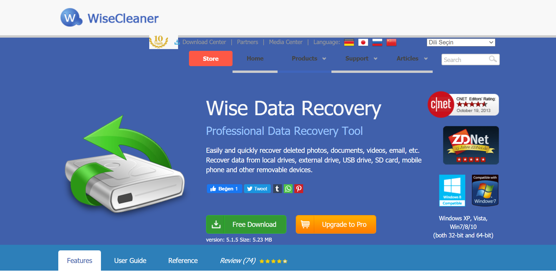 WiseCleaner Web sitesi