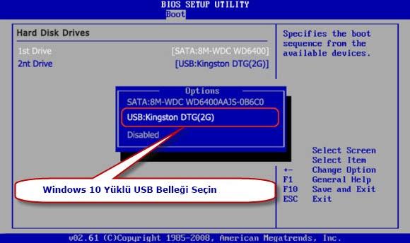 USB Bellek için BIOS Ayarları