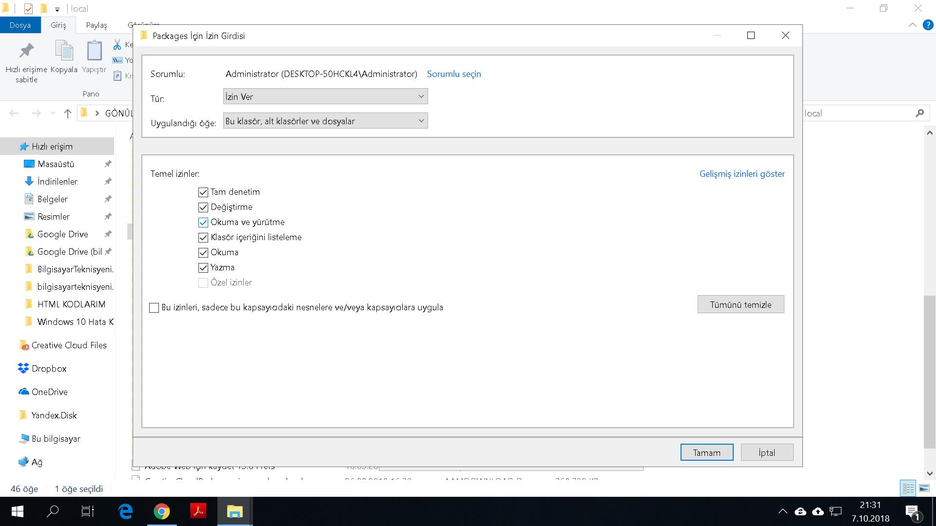 Tüm izinleri işaretleyip onaylama ekranı