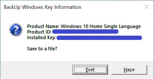 windows 10 sürümünün kayıtlı ürün anahtarı