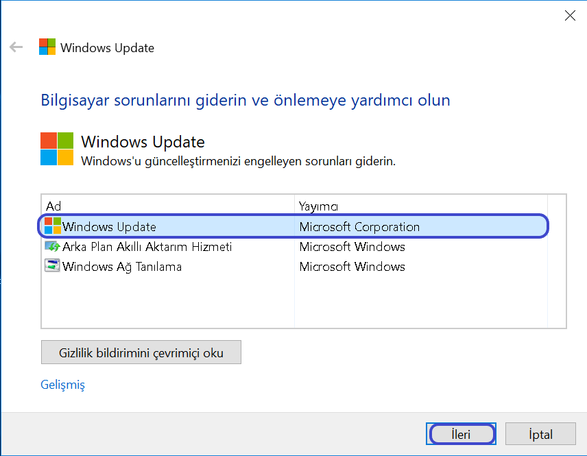 Windows Update tıklama komutu