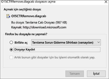 O15CTRRemove.diagcab dosyası için dosyayı kaydet ve kaydet komutlarını tıklama görüntüsü