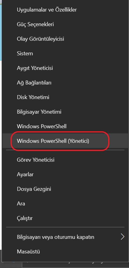 Windows PowerShell ( Yönetici ) olarak başlatın