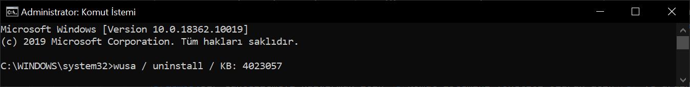 wusa /uninstall /kb:[id] komut dosyası