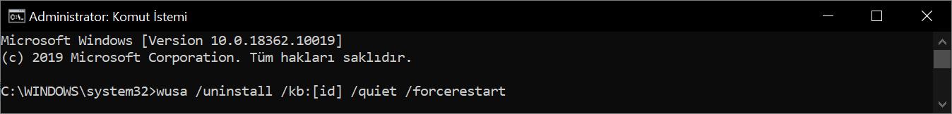 wusa / uninstall / KB: 4023057 / quiet / forcerestart komut dosyası