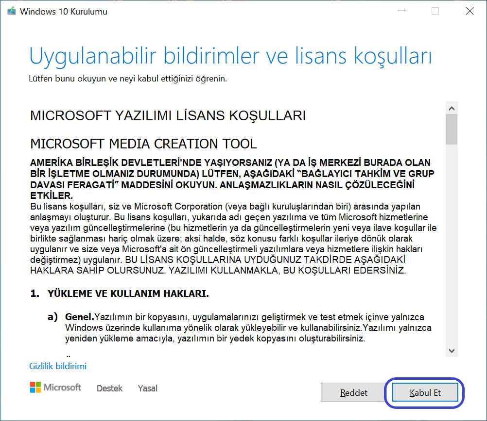 Windows 10 Medya Aracı Lisans Sözleşmesi