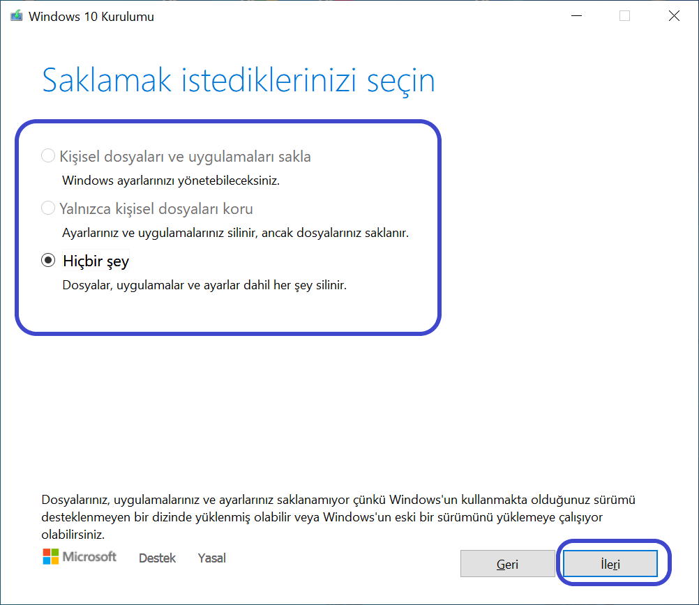 Windows Kurulumu Hiçbirşeyi Saklama
