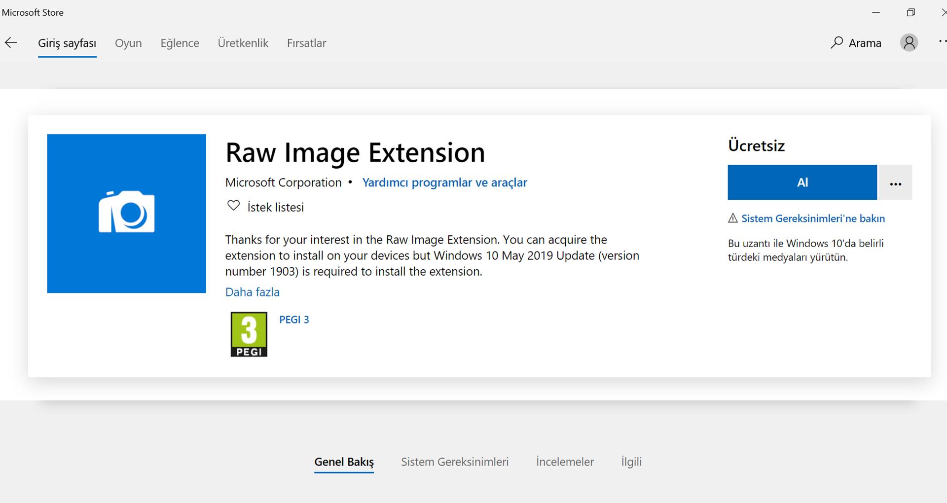 Microsoft Stor'dan Raw Images Extension'ı Ücretsiz Al Sayfası