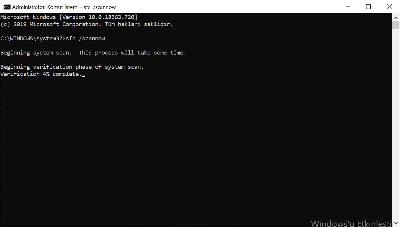Komut İstemi penceresinden sfc /scannow komutuyla bilgisayarı taratma.