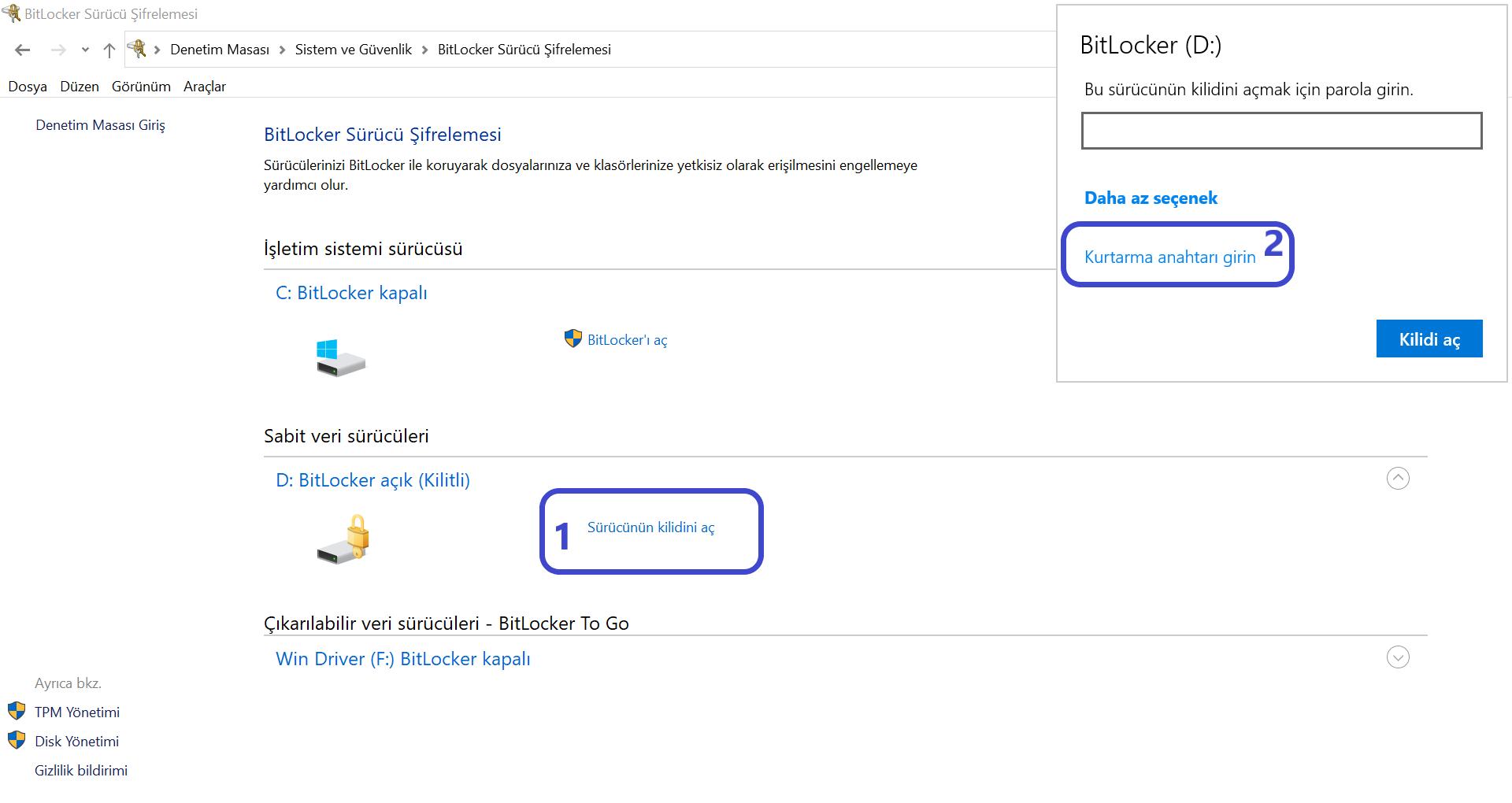 BitLocker Sürücü Şifrelemesinin Açılış Görüntüsü