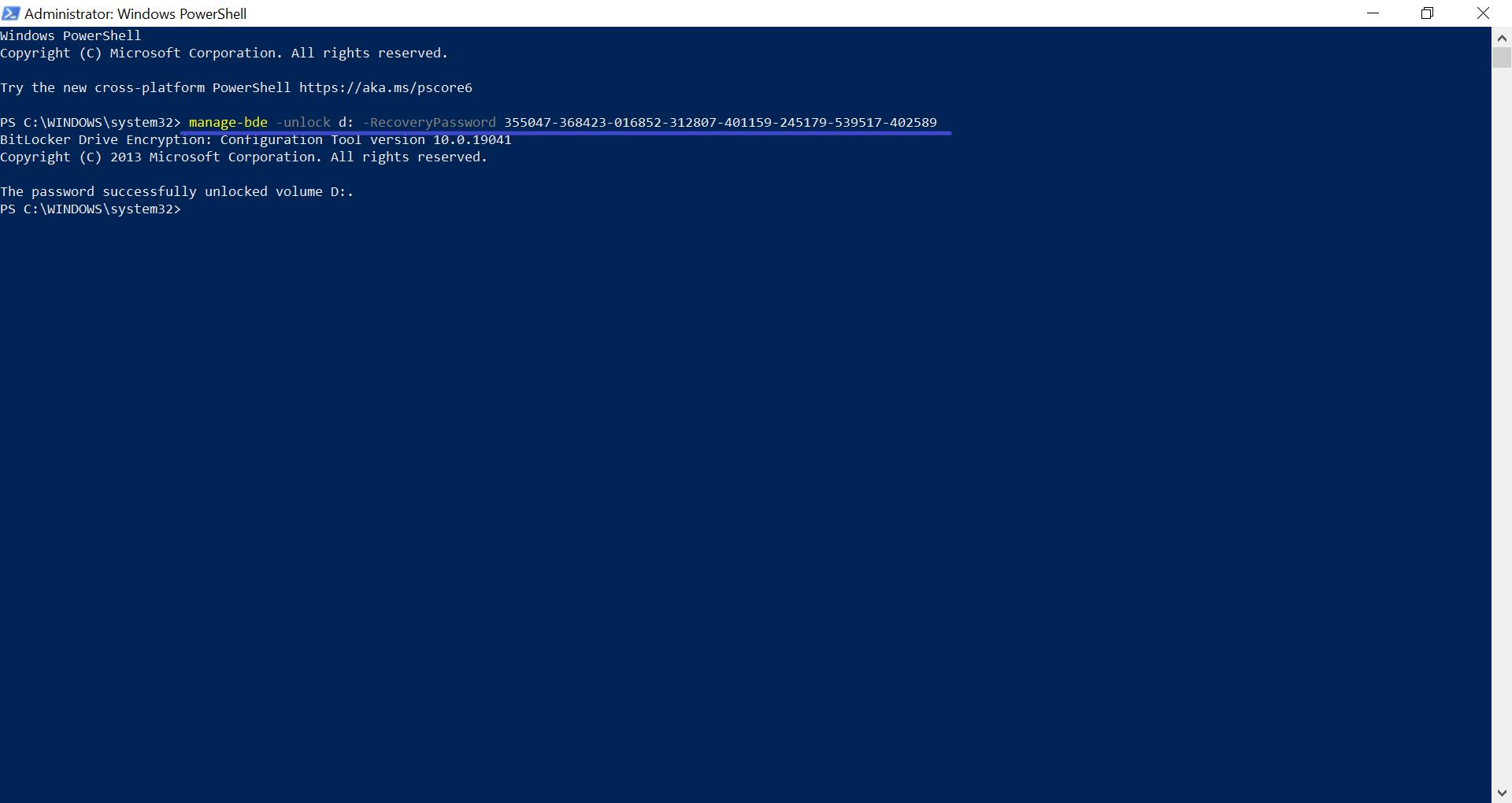 BitLocker'i Şifresinin PowerShell'de Bulunması