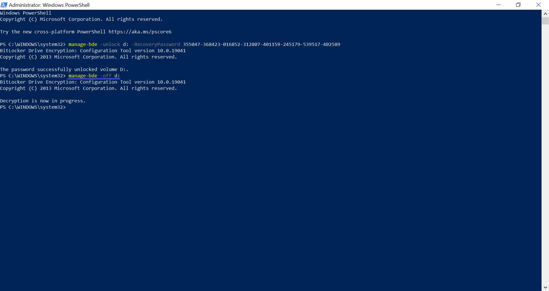 BitLocker'i Şifresinin PowerShell'de Çözülmesi