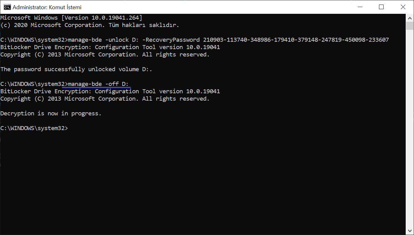 Komut İstemiyle BitLocker Şifresinin Çözülmesi