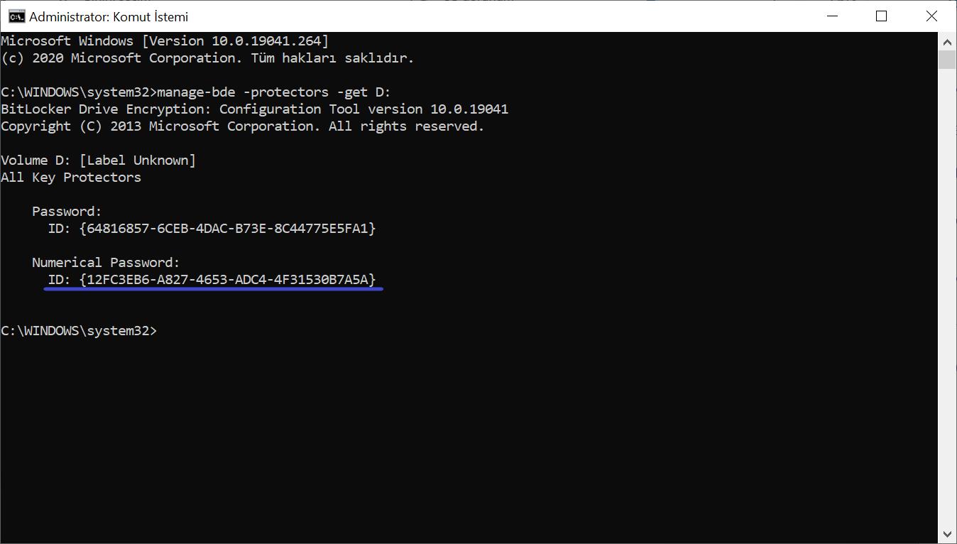 Komut İsteminde Numerical Password Id'sinin Görünümü