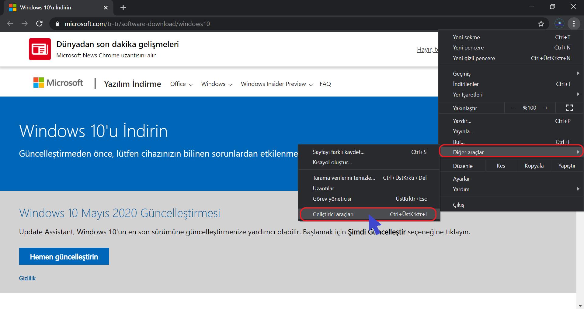 Google Chrome Özelleştirin ve Kontrol Edin Düğmesinden Diğer Araçlar menüsünden Geliştirici Araçlarının Seçimi