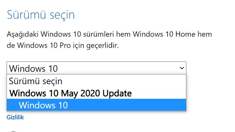 Windows 10 Sürümünün Seçimi