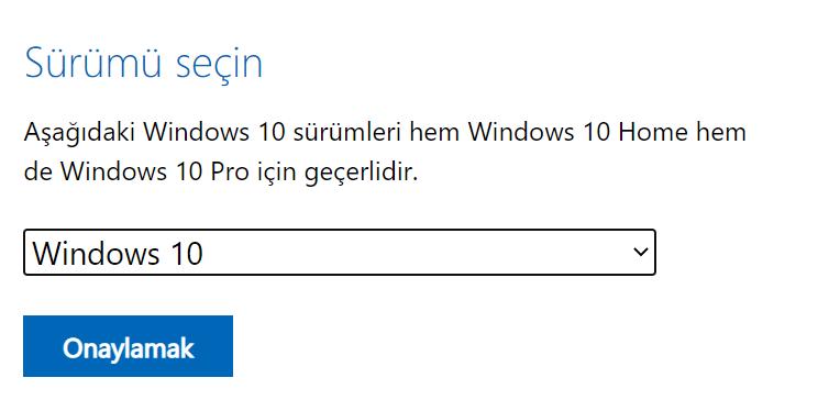 Windows 10 seçimini onayla