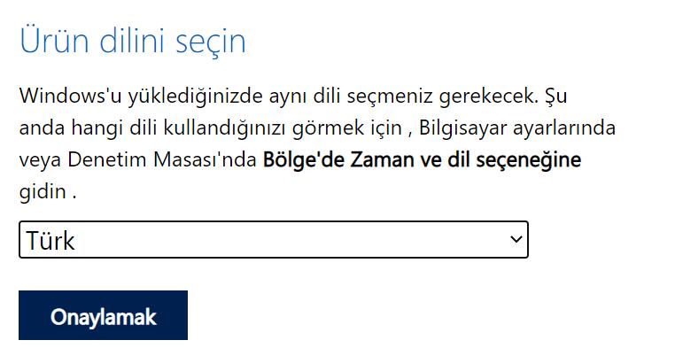 Windows iso indirmesini belirlemek için zaman ve dil belirleme