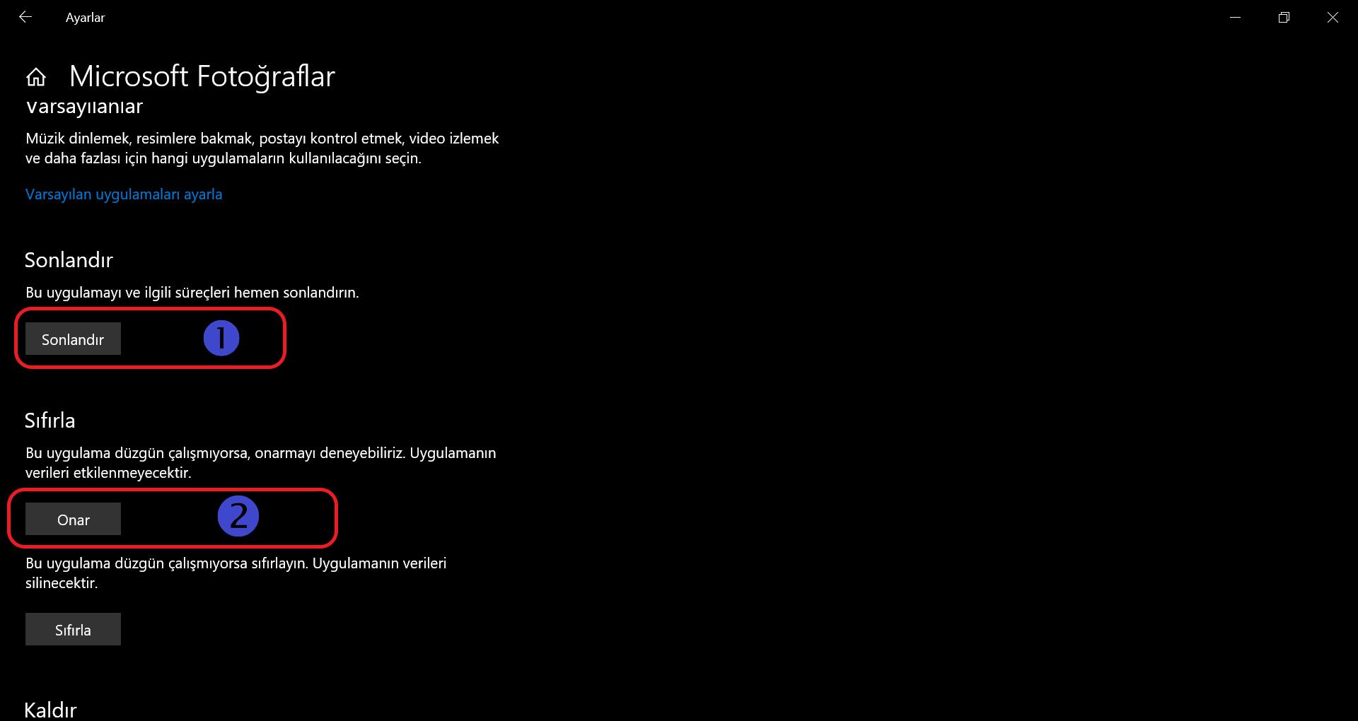 Microsoft Fotogramlar Sonlandır ve Onar Görüntüsü