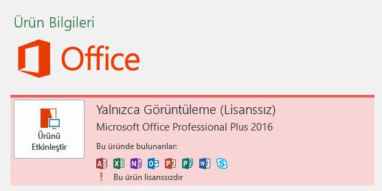 Office Lisanssız görüntüsü