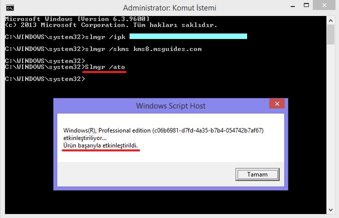 Slmgr /ato komutunu kullnarak windowsu etkinleştirme