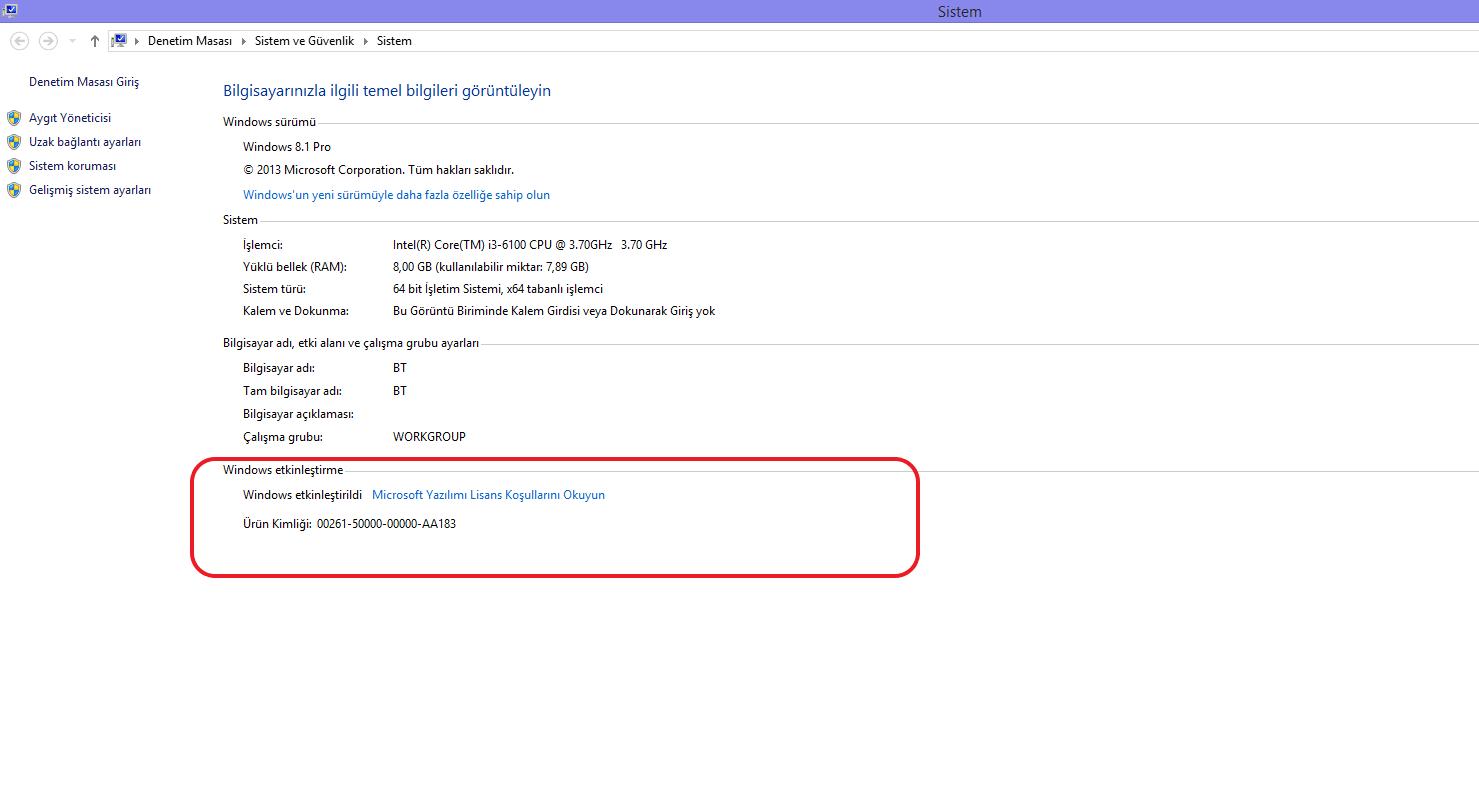 Windows 8 veya Windows 8,1 aktivasyon durumunun kontrol edilmesi