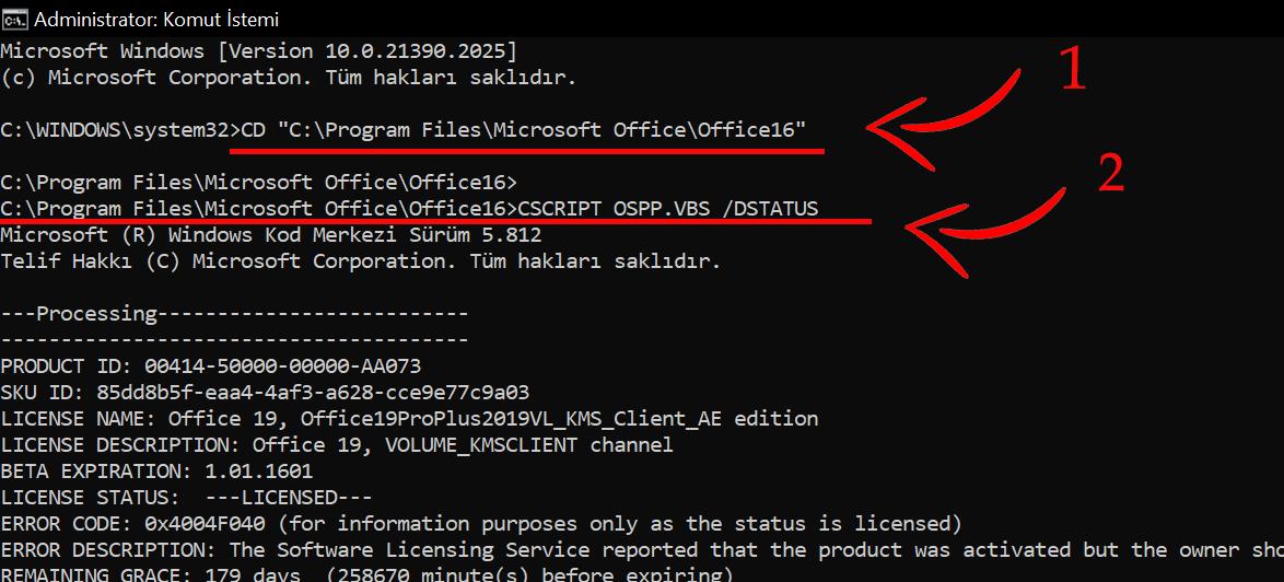 CSCRIPT OSPP.VBS /DSTATUS komutu