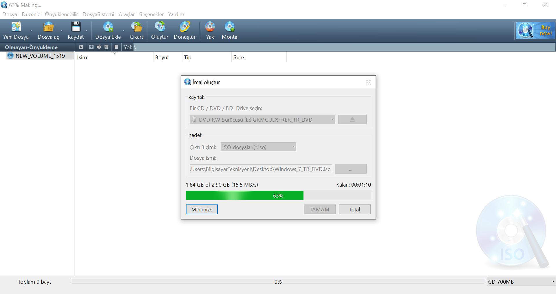 Windows Kurulum Diskinden İSO İmages Dosyası Oluşturma