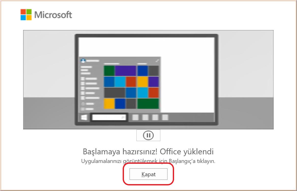 Office 2019 Yükleme ilerlemesi